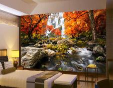 HQ Mural Cascada Bosque Otoño Foto Wallpaper decoración habitación art 74