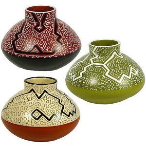 Shipibo Rounded Pot with Short Stove Stack Top from Peru Fair Trade