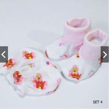 Girls Small Wonders Red Tag Baby Mittens and Booties Set