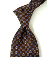 Brooks Brothers Textured Brown w/ Woven Blue & Gold Medallions Silk Neck Tie USA