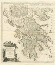 """Graeciae Antiquae Specimen…"" Ancient Greece. SANTINI / D'ANVILLE 1784 old map"