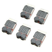 5X 1-8S Indicator RC Lipo Battery Tester Low Voltage Buzzer Alarm Z3Y5