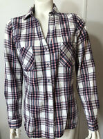 Skies Are Blue  Womens Medium Plaid Blouse Shirt Red White Blue V Neck Pockets