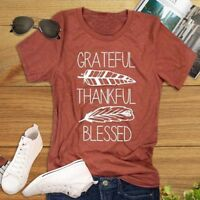 Thankful Grateful Blessed Feather Print T-Shirt Thanksgiving Women Tee Tops Cxz