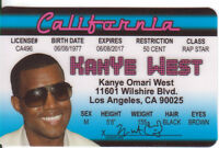 Kanye West .. plastic ID card Drivers License -