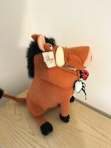 Vtg Pumbaa Lion King Disney Store Plush Stuffed Animal With Tag +bugs