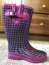 WESTERN CHIEF WOMEN SZ 7 HOUNDSTOOTH FUSION BERRY SLIP ON WATERPROOF RAIN BOOTS