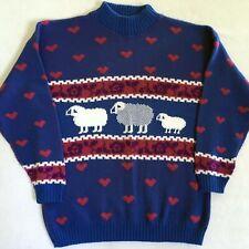 Vintage Sweater Sheep Hearts Flowers Blue Magenta Purple Large L