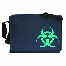 Biohazard Toxic déchets symbole Glow in the Dark Navy Blue Messenger sac d'épaule
