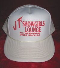 J T's Showgirls Lounge Myrtle Beach SC cap hat White & Red Lettering Strip Club
