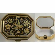 Damascene Gold Dove & Flower Design Octagon Pill Box by Midas Toledo Spain