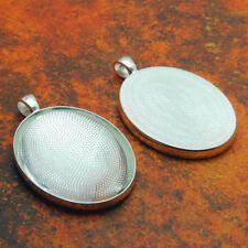 10 QTY - PRO LARGE OVAL SHINY SILVER Photo Pendant Trays Bezel Jewelry & GLASS