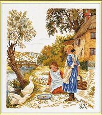 Girls and Geese Cross Stitch Kit - Eva Rosenstand - 12-964