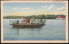 STOWE NY Ferry Boat Vintage 1940's Cars Old Linen Postcard Early PC