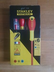 Stanley Fatmax 0-65-443 VDE Insulated Slotted/Pozi Screwdriver Set 6 Piece