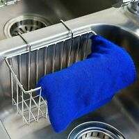 Kitchen Stainless Steel Sponge Holder Sink Caddy Brush Soap Drainer Rack Home US