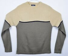 Stussy Men's Sz Medium Wool Blend Gray Cream Two Tone Pullover Sweater