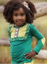 NWT NEW Boutique Persnickety Fall Emerald Pine Lou Lou Top Girls Size 8