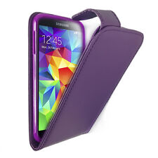 Synthetic Leather Flip Case Cover Card Holders for Samsung Galaxy S5 - Purple