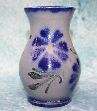 Studio Art Pottery Blue Flower Vase Signed by REMMY FILS  Retschdorf