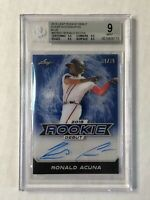 RONALD ACUNA JR 2018 Leaf BLUE INK RC SP AUTO /25! BGS MINT 9! AUTO PRISTINE 10!