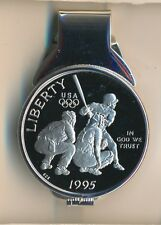 **US Proof $1/2 Coin Baseball Commemorative Sterling Silver Money Clip**
