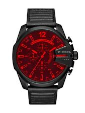 Diesel Watch Mega Chief Black IP and Leather Chronograph Watch DZ4460