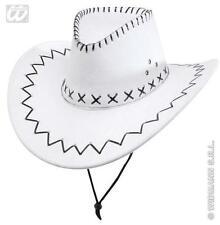 Faux Suede White Cowboy Hat Pimp Sheriff Cap Western Fancy Dress