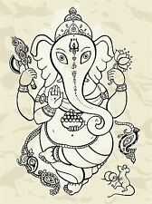 ART PRINT PAINTING DRAWING ORNATE OUTLINE GANESH HINDI ELEPHANT LFMP1091
