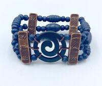 Pulsera mujer de madera azul y marron con espiral nueva bisuteria complementos
