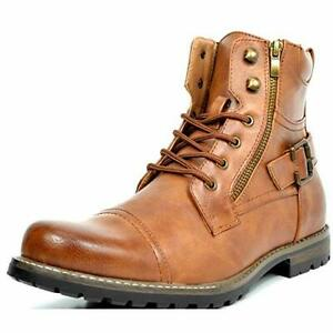 US Men's Combat Motocycle Boots Lace-Up Riding Hiking Buckle Touring Shoes