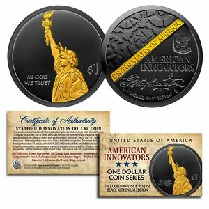 American Innovation State $1 Dollar Coin 2018 1st Release BLACK RUTHENIUM & GOLD