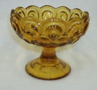 L E Smith Amber Glass Pedestal Candy Dish - Moon and Stars Design