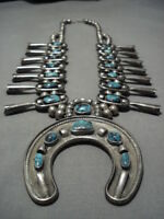 BISBEE TURQUOISE VINTAGE NAVAJO STERLING SILVER SQUASH BLOSSOM NECKLACE OLD
