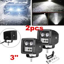 2x 3in 128W LED Work Lights Pods Flood&Spot Fog Offroad Lamp For ATV UTE SUV