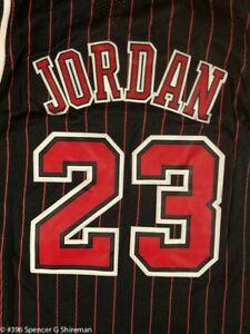 #23 Michael Jordan Chicago Bulls Men's Pinstripe Black Throwback Stitched Jersey