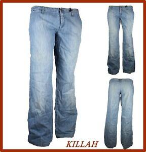 killah jeans da donna pantaloni a vita bassa gamba larga palazzo zampa 48 nuovi