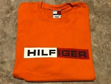 Vintage 90s TOMMY HILFIGER FLAG SPELL-OUT Orange Graphic T-Shirt Adult Size L