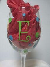 Vinyl Polka Dots Monogram Initial Wine Glass Mason Jar Yeti  Decal Kit For 4