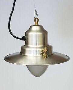 UCCELLO Greek Fisherman Brushed Aluminum Pendant Lamp, Hanging Light NEW