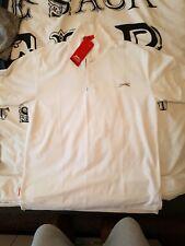 Slazenger Mens Nueva Marca Polo Camisa-Grande, Blanco, con punta de cuello y mangas.
