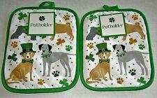 """St Patrick'S Day Potholders 7"""" X 9"""" St Patrick'S Day Pets Set of 2"""