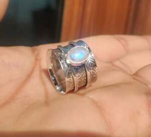 Moonstone 925 Sterling Silver Band Spinner Ring Statement Handmade Size- Z Z-85