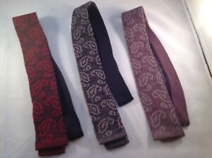Men's Necktie Wool Knit Navy Blue Purple Paisley Made in Italy NEW