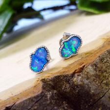 Blue Opalite .925 Silver CZ Mini Hamsa Earrings