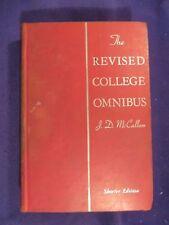 1940 THE REVISED COLLEGE OMNIBUS Hardcover Textbook HARCOURT BRACE Shorter Ed