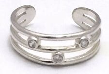 Three Row White Sapphires Toe Ring 14k Solid White Gold - Adjustable