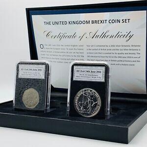 2016 UK BREXIT TWO COIN SET - 2016 1OZ SILVER BRITANNIA £2 BU COIN / 1973 50P