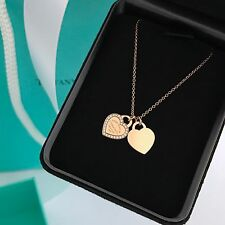 Return To TIFFANY & Co 18k Rose Gold Diamond Double Heart Tag Necklace 16""