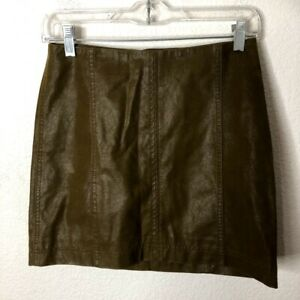 **MINOR DEFECT** Free People Womens Textured Faux Leather Mini Skirt, 2